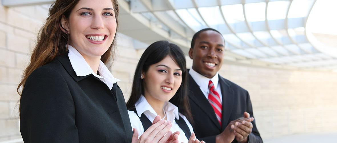 Happy sales team