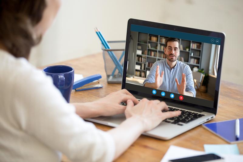 man on an online interview